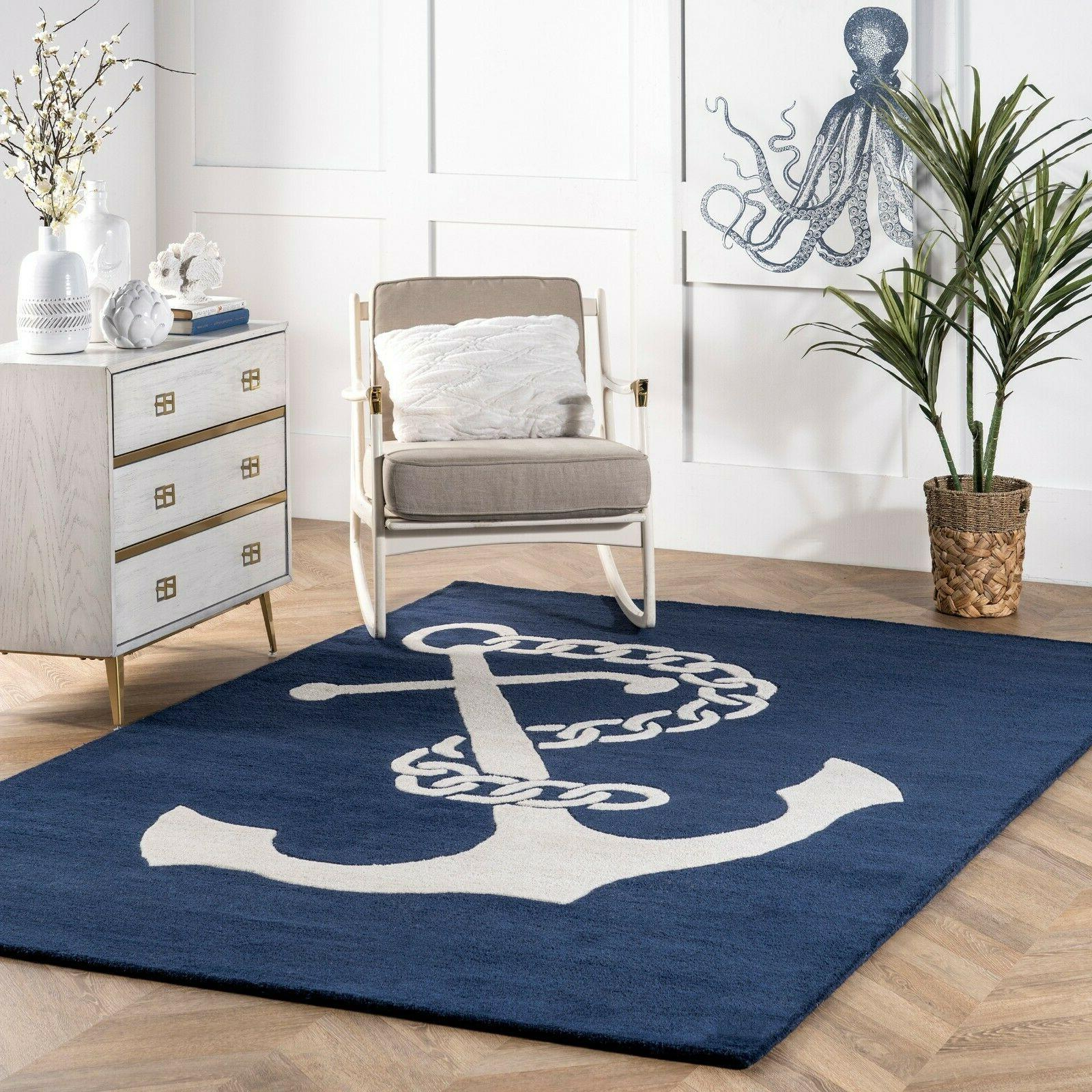 Handmade Coastal Anchor Nautical Wool Area Rug