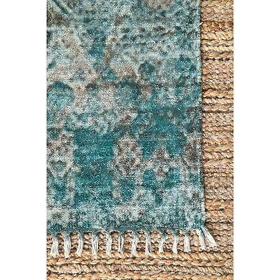 nuLOOM Handmade Abstract Fringe Rug in Blue,