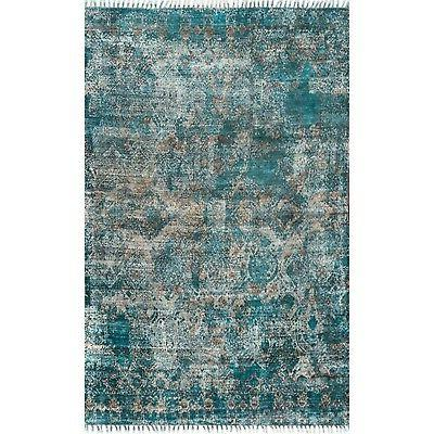 nuLOOM Handmade Abstract Area Rug in Turquoise Green
