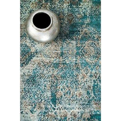 nuLOOM NEW Abstract Fringe Area Rug in Turquoise Blue,