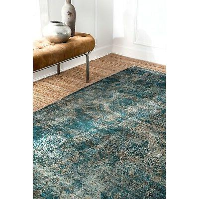nuLOOM Vintage Abstract Fringe in Turquoise