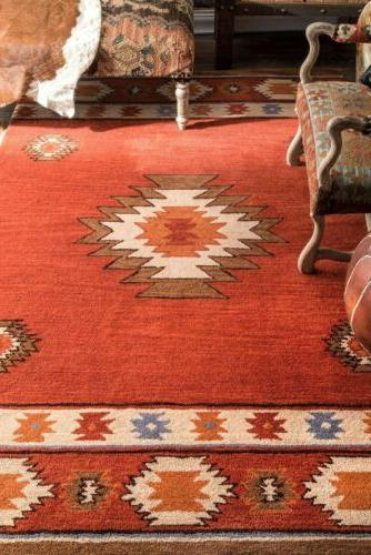 nuLOOM Handmade Geometric Wool in Burnt Orange Color