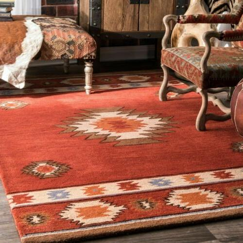 handmade southwestern geometric wool area rug in