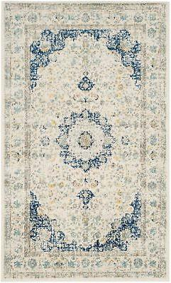 Ivory / Blue Safavieh Power Loomed Evoke Area Rugs - EVK220C