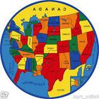 Kids USA Map Educational 8x8 Area Rug Children Actual Size 7