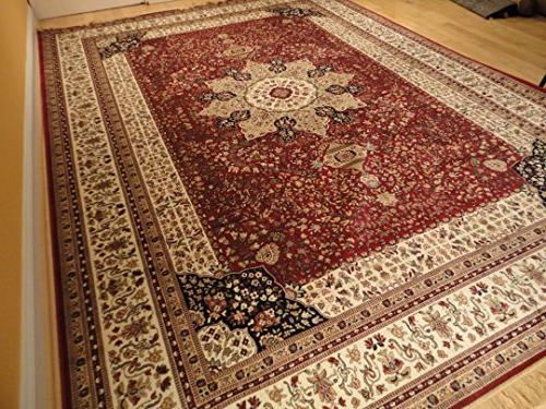 Luxury Red High Silk Rugs Traditional Large Area Rugs Living Dining Burgundy Rugs Persian Rug