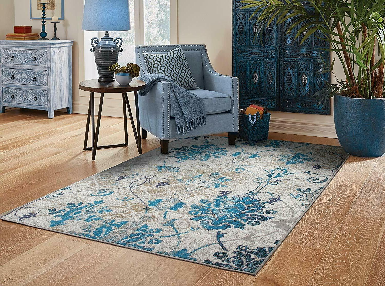 Modern Area Rugs 8x10 Contemporary Blue Living Room
