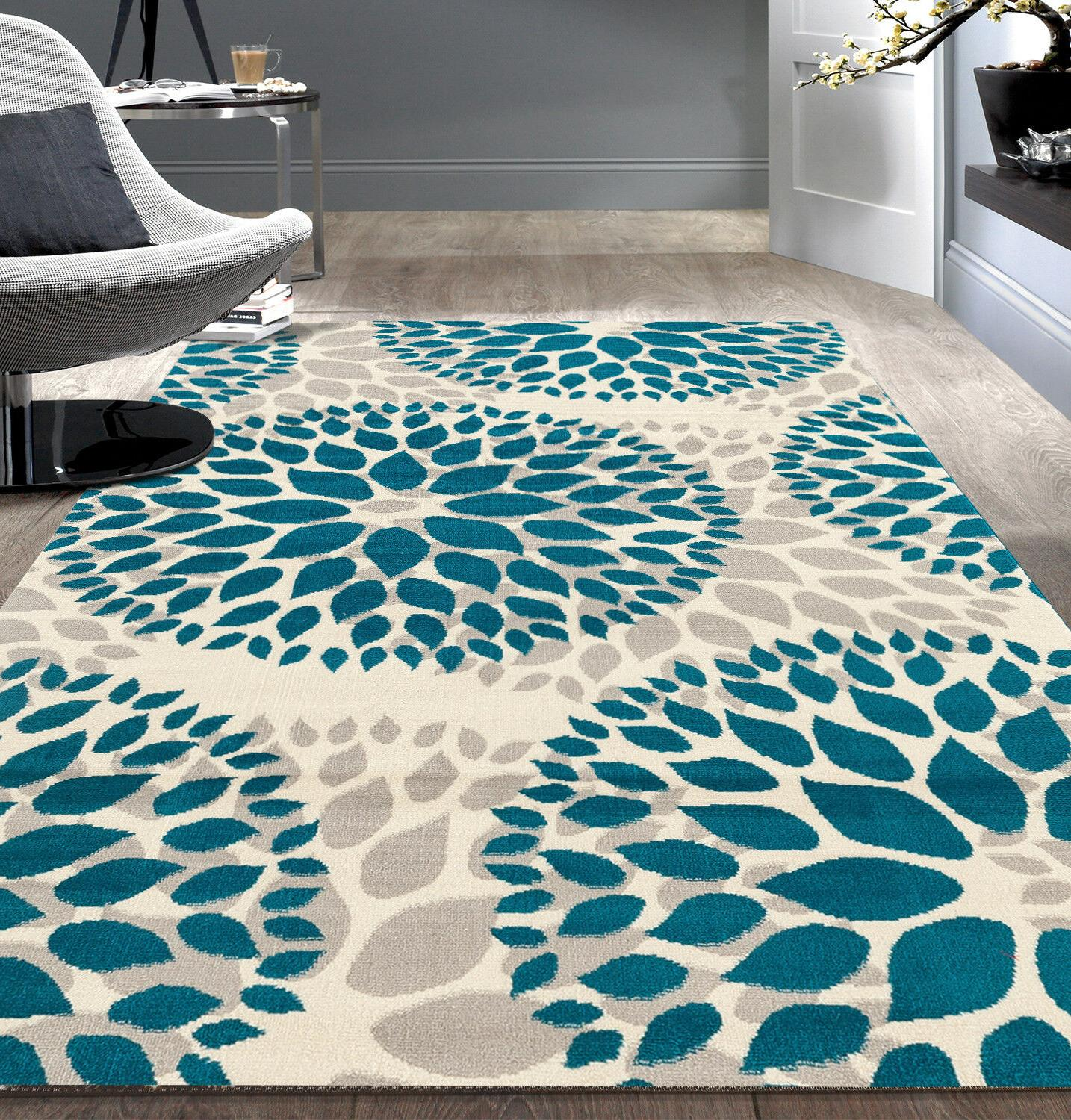 modern floral circles design area rugs
