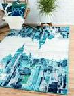 Modern new York Design Area Rug Soft Contemporary Warm Blue