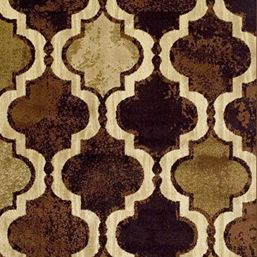 Superior Collection Area Rug, 10mm Height Chic Textured Geometric Pattern, Rugs - Coffee, 8'