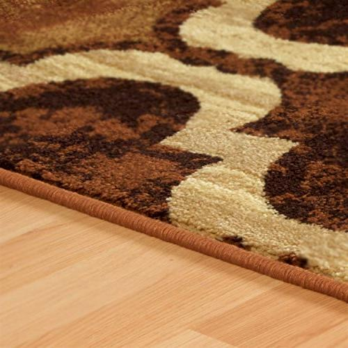 Superior Modern Collection Height Pattern, Water-Repellent - Coffee, 8' Rug
