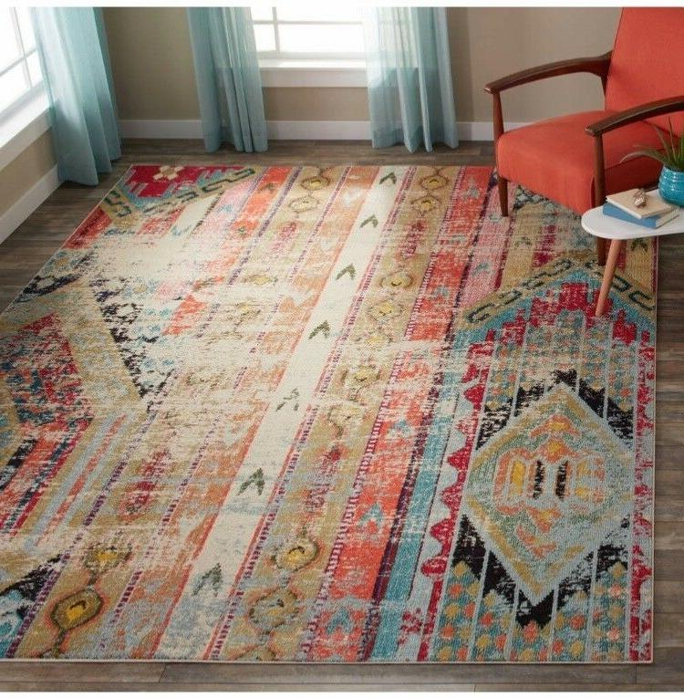 monaco vintage bohemian multi colored distressed rug