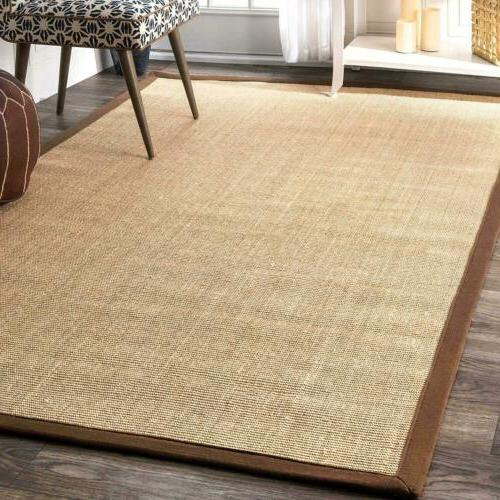 natural sisal contemporary modern bordered area rug