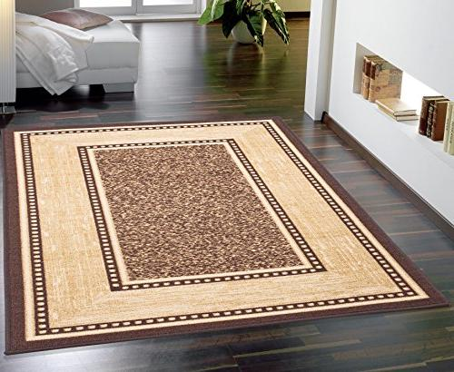Large w/Border No-Slip Rug, Stain & Fade 8 x