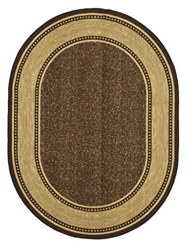 "Ottomanson Contemporary Bordered Non-Skid Rubber Backing 5' X 6'6"" Oval, Chocolate"