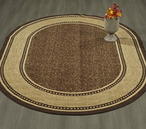 "Ottomanson Ottohome Collection Bordered Design Backing 5' 6'6"" Chocolate Brown"