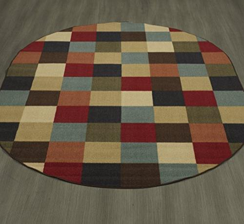 Ottomanson Ottohome Collection Checkered Rubber Backing Modern Area 5' Oval, Multicolor