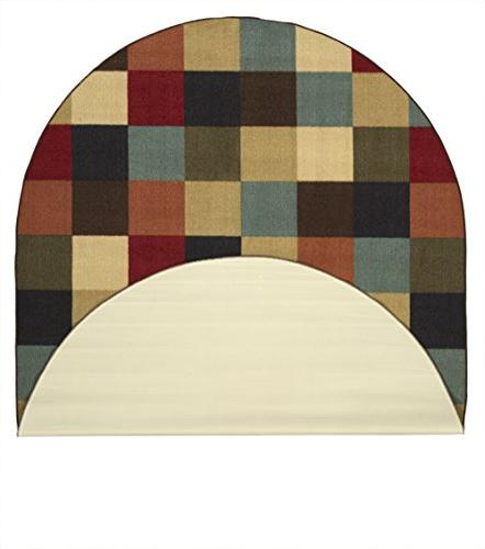 Ottomanson Collection Checkered Non-Skid Backing Modern 5' Multicolor