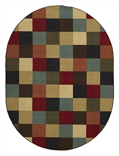 "Ottomanson Contemporary Checkered Non-Skid Backing Modern Area Rug, 5' X 6'6"" Oval, Multicolor"