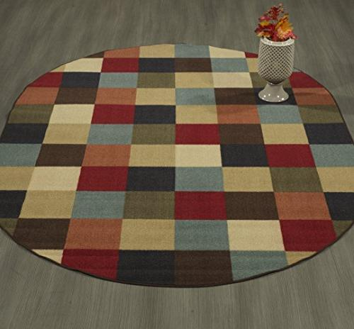 "Ottomanson Ottohome Checkered Rubber Backing Area 5' X 6'6"" Multicolor"