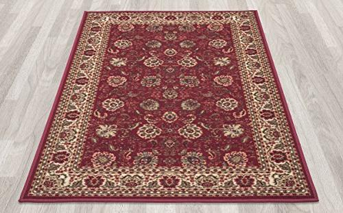 Ottohome Dark Red Traditional Floral Design Area Rug