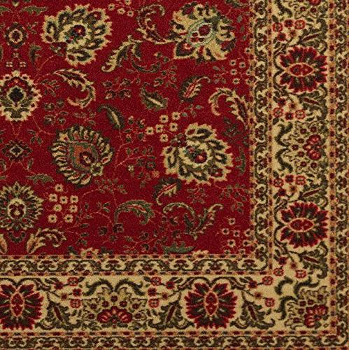 Ottohome Dark Red Traditional Floral Non-Skid Area Rug