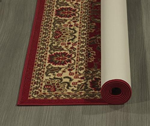 Ottohome Collection Dark Red Traditional Design Area Rug