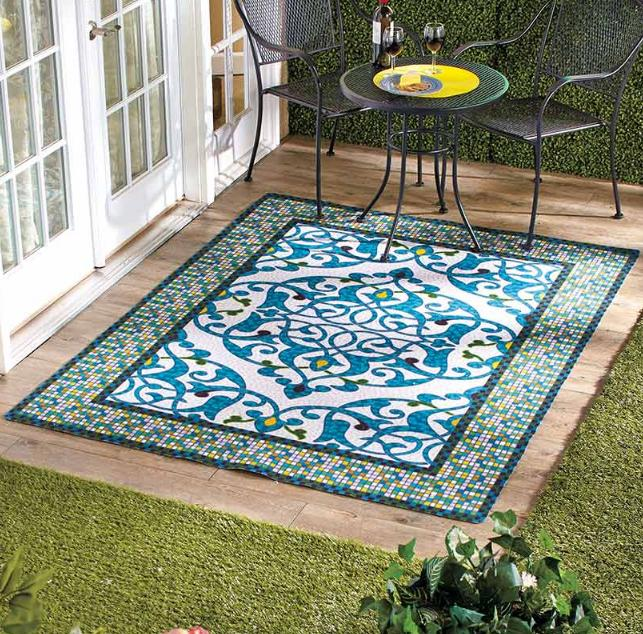 Outdoor Rugs For Patios Large Area Blue Mosaic Pattern Polye