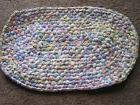 Hand Crochet oval Rag Rug COTTAGE Shabby Chic Pink Yellow Bl