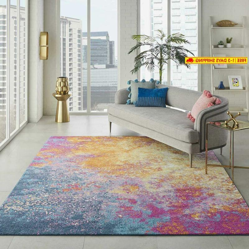 passion modern abstract colorful sunburst area rug