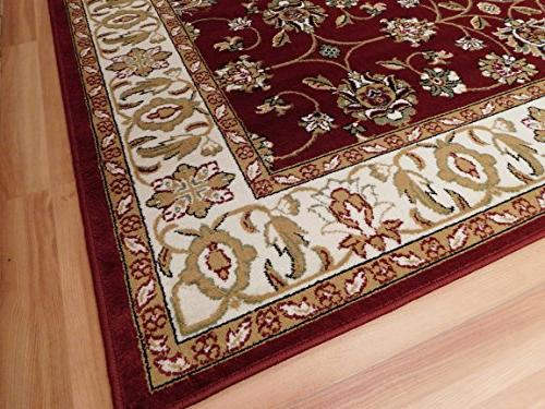 Large Persian Style Traditional Rug Burgandy x Red Cream by For Room Prime, 8x11