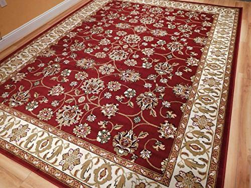 Large Persian Traditional Burgandy x 11 Cream Green by 10 Area For Living 8x11