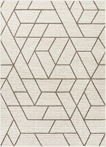 Well Woven Ivory Modern Lines Tiles Area Rug 5x7