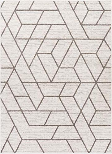 Well Plaza Ivory Modern Tiles Shapes 5x7 Carpet