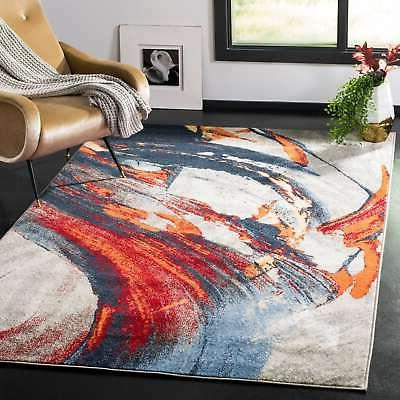 porcello modern abstract grey red area rug
