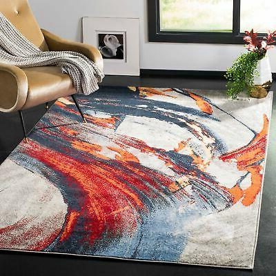 Safavieh Porcello Modern Abstract Grey/ Red Area Rug - 4' x