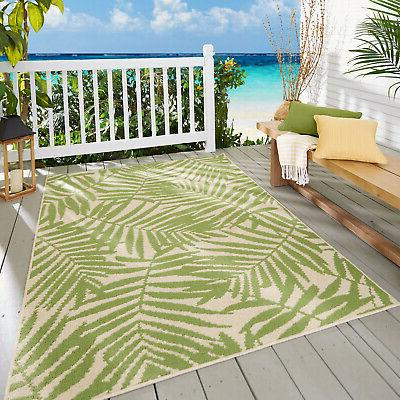 Porch Deck Patio Area Rug Green Palm Leaf Designed Tufted Th