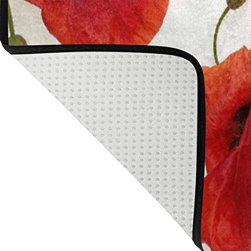 ALAZA Red Poppy Floral Rugs for