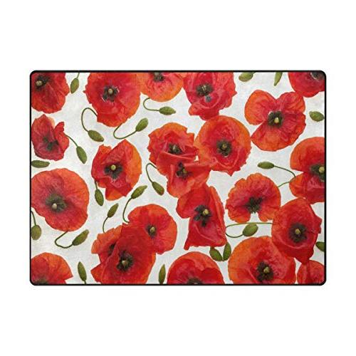 ALAZA Floral Area Rug Rugs for Room Bedroom 7'