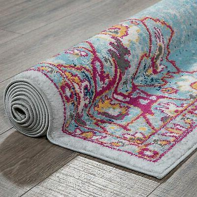 Ottomanson Collection Distressed Blue Area Rug