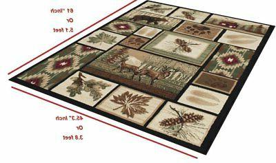 Rug For Lodge Nature and Animals Geometric Area Flooring