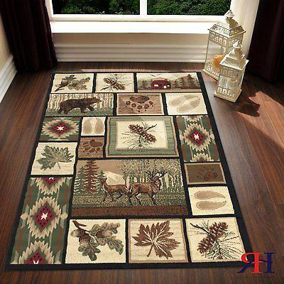 rug for lodge cabin nature and animals