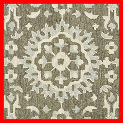 Stone & Beam Floral Wool 2' x Charcoal Beige