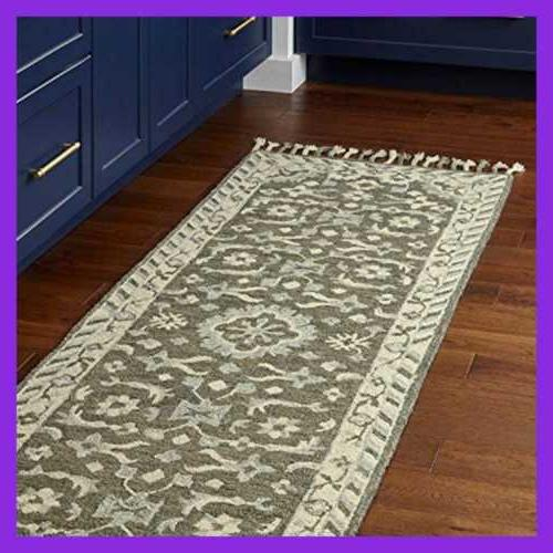 Stone & Barnstead Floral Wool Rug, 2' Charcoal