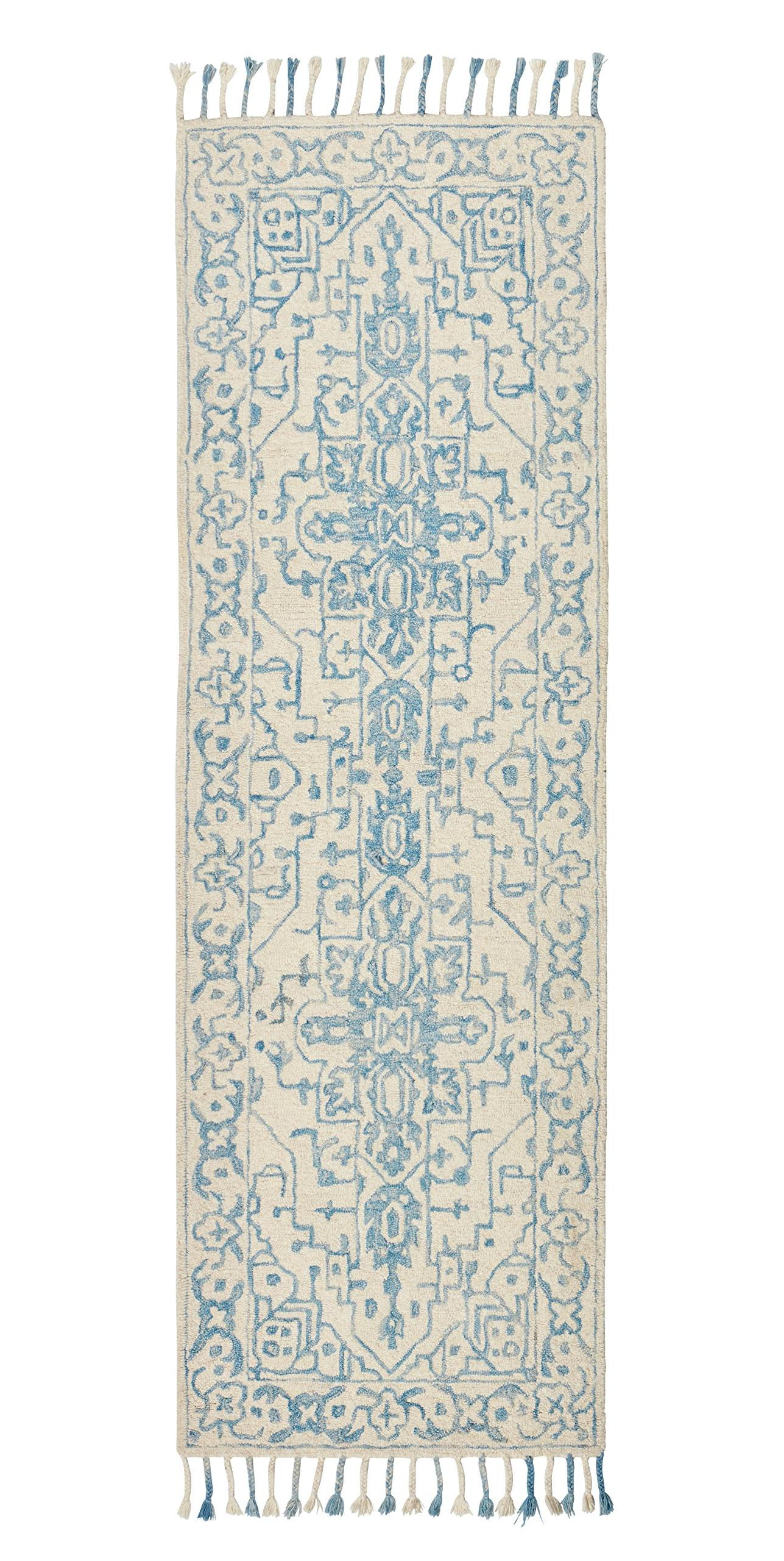 "Stone & Beam New England Tassled Wool Runner, 2'6""x8', Blue"
