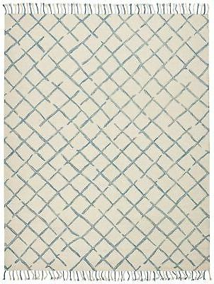 Stone & Beam Tassled Criss-Cross Wool 8'x10', Blue 8'