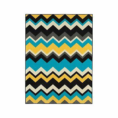 "Ottomanson Studio Chevron Waves Design 5'0"" X 6'0"", Blue..."