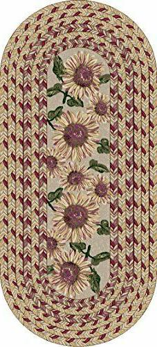 Sunflower Braid Floral Area Rug for Kitchen or Home Décor,