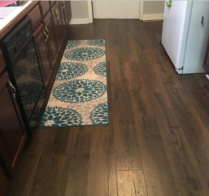 Throw Long Floral Living Kitchen Hall Entry Floor Mat Blue