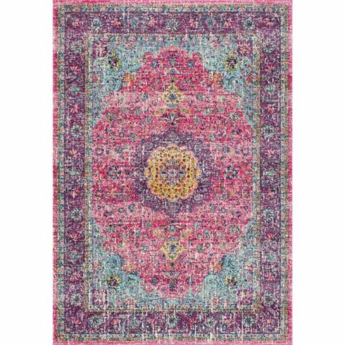 nuLOOM Traditional Distressed Area Rug Pink | 4.5 Review